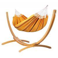 Currambera Apricot - Klassische Doppel-Hängematte mit Gestell aus FSC™-zertifizierter Lärche