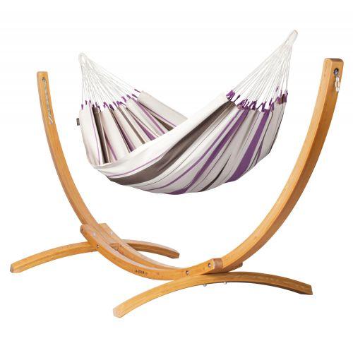 Caribeña Purple - Klassische Einzel-Hängematte mit Gestell aus FSC™-zertifizierter Lärche