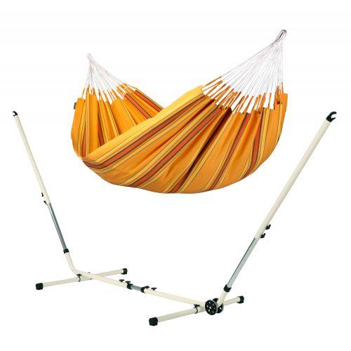 Currambera Apricot - Klassische Doppel-Hängematte mit pulverbeschichtetem Stahl-Gestell