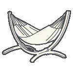 Eine Hängematte mit Gestell von LA SIESTA