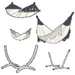 Individuelle Kombination aus Hängematte und Gestell